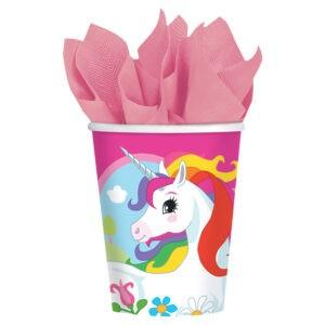 Confezione 8 bicchieri festa a tema Unicorni