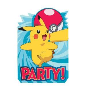 Pokèmon confezione 8 inviti festa a tema