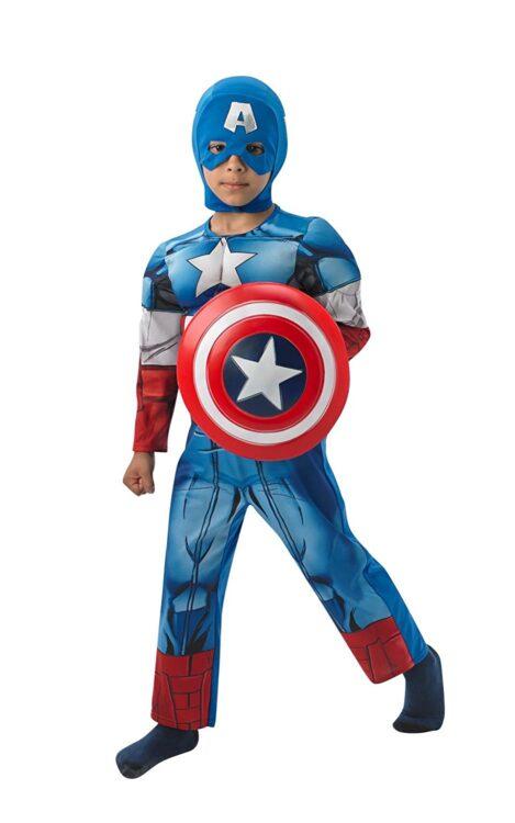 Costume Capitan America con muscoli 5-6 anni