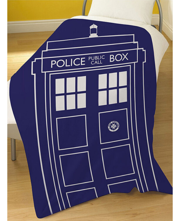 Dr Who Plaid in pile Tardis