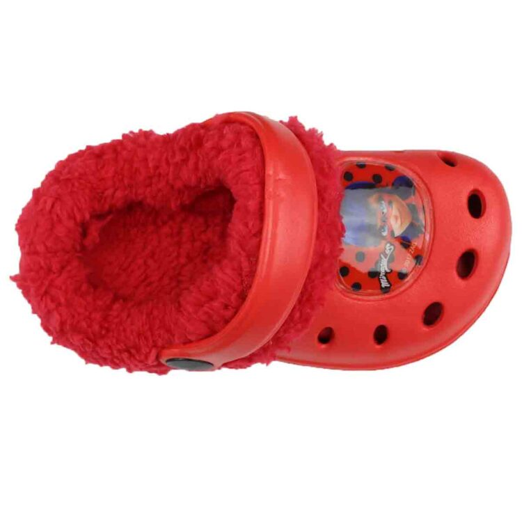 Ciabatte tipo Crocs con pelliccia Miraculous Ladybug