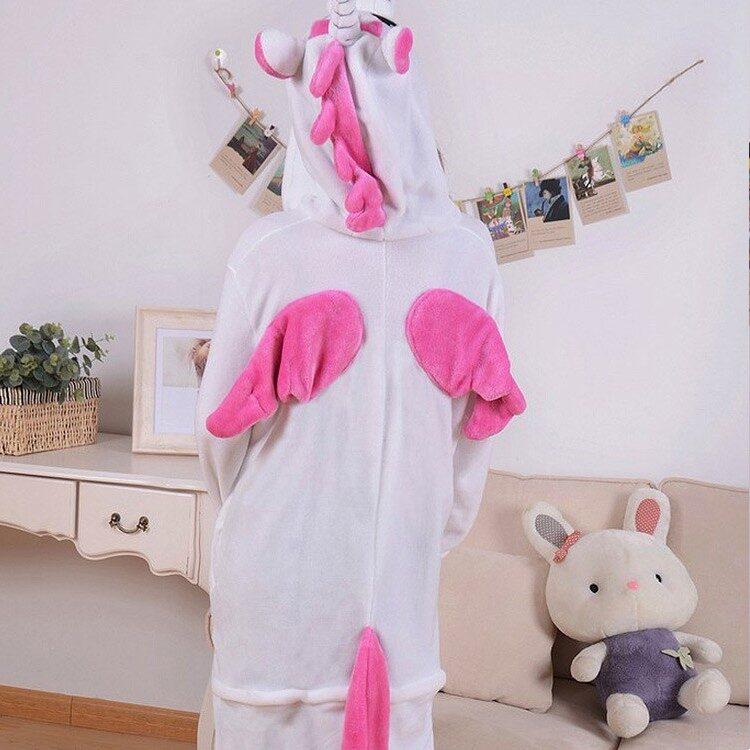 Tuta pigiamone unicorno bianco fucsia