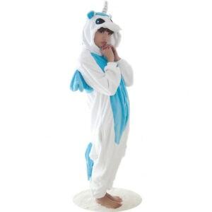 Tuta pigiamone unicorno bianco azzurro