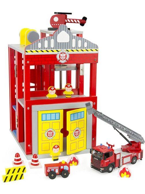 Stazione e camion dei Pompieri in legno Leomark