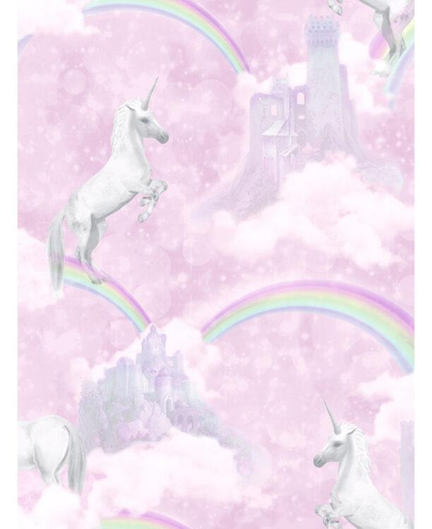 Carta da parati rosa Unicorni e Arcobaleni 10mt