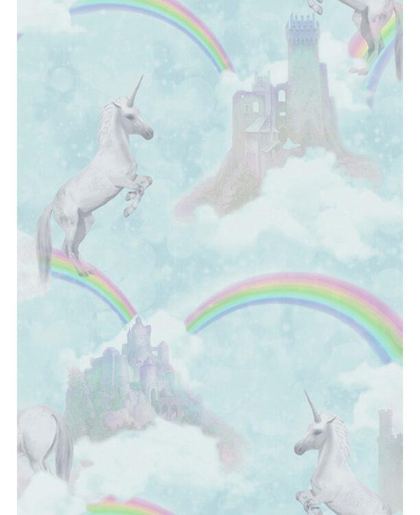 Carta da parati verde acqua Unicorni e Arcobaleni 10mt