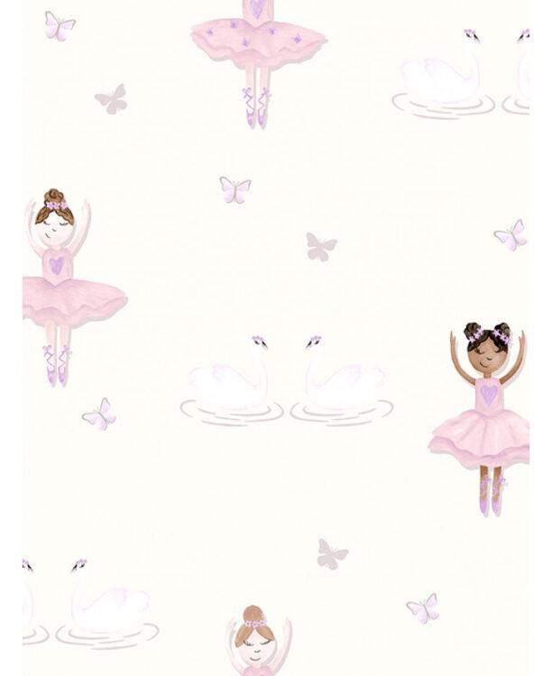 Carta da parati bianco panna Ballerina 10mt