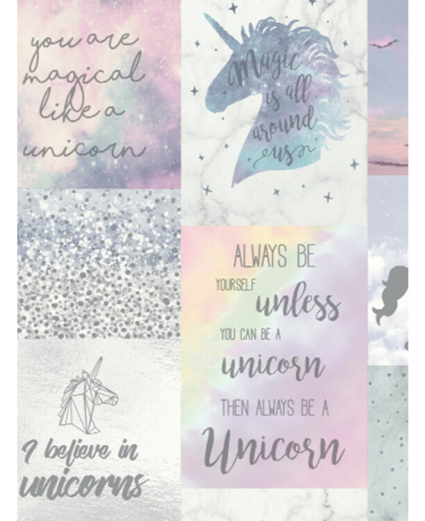 Carta da parati glitterata Believe in Unicorns 10 mt
