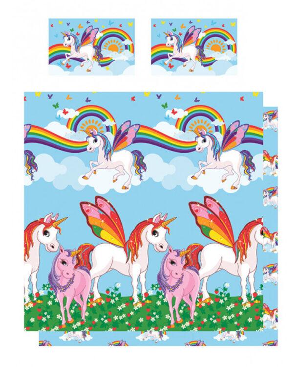 Parure copripiumino per letto doppio Unicorni e Arcobaleni