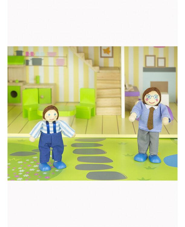 Leomark Casa di bambola in legno blu con mobili e bambole