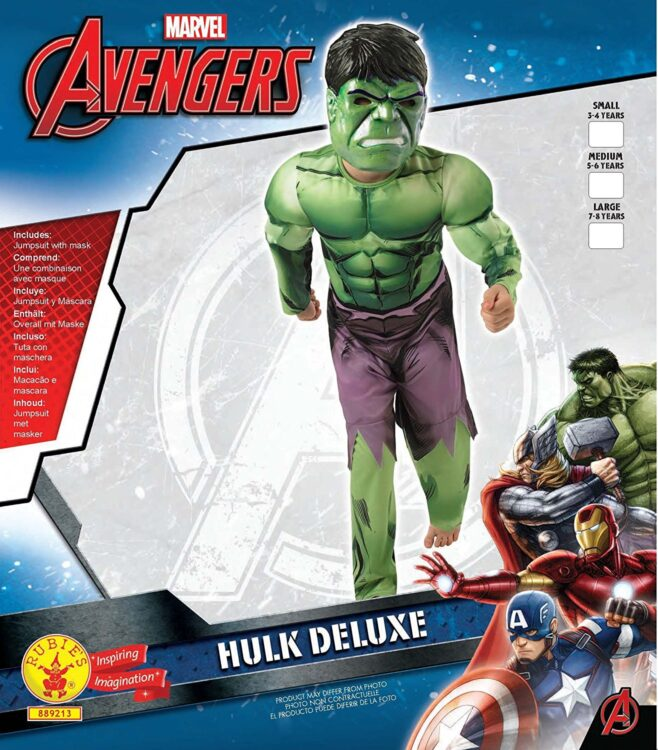 Costume Hulk con muscoli 7-8 anni