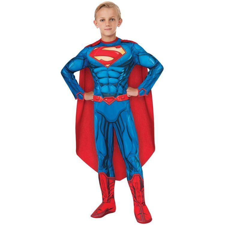 Costume Superman 5-7 anni Deluxe con muscoli