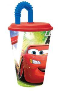 bicchiere con cannuccia disney cars