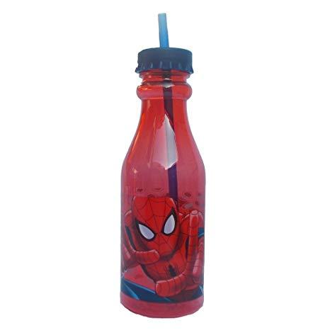 bottiglia con cannuccia spiderman