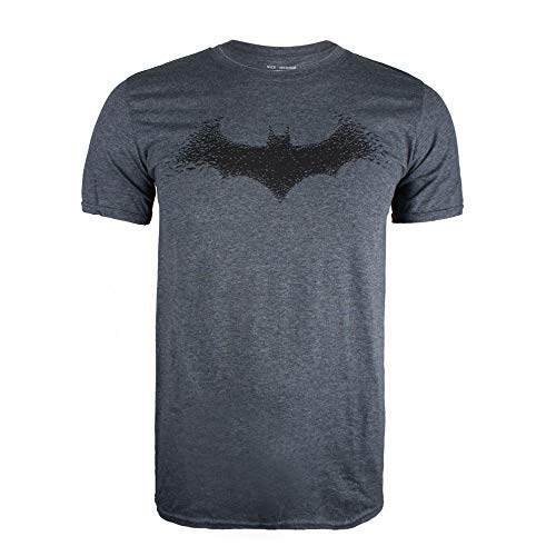 DC Comics Batman-Bat Logo T-Shirt, Grigio (Dark Heather Dkh), Medium Uomo