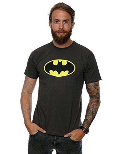 DC Comics Uomo Batman Logo Maglietta X-Large grafite Luce