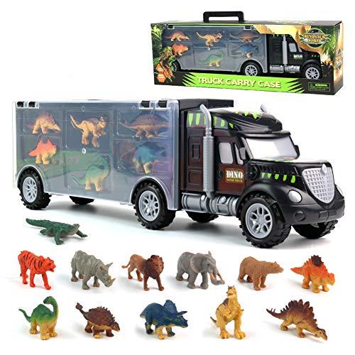 Dinosauri Macchinine Giocattolo per Bambini Camion del Trasportatore Giocattoli del Camion con 6 Mini Dinosauri e 6 Animali Giocattoli per Bambini 3 4 5 6 Anni