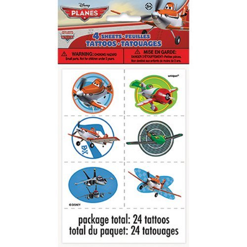 Disney Planes Tattoo Sheets - Party Favors - 4 per Pack by SmileMakers Inc
