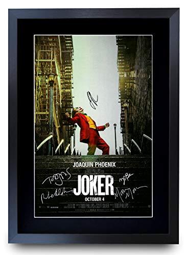 HWC Trading Joker The Cast Joaquin Phoenix Zazie Beetz Marc Maron Todd Phillips, Poster Stampato con Foto autografate per i Fan del Film - A3 incorniciato