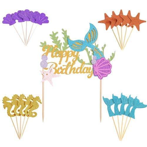Mermaid cake topper Decorations-Set 1pezzi glitter Mermaid Happy Birthday cake topper + 20pezzi cupcake per Baby Shower Birthday party supplies