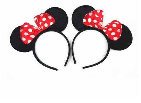 Norbis Minnie Mouse Ears Headband Children Birthday Party Supplies Girls Mom Baby Hair Accessories Party Decoration Gift Baby Shower Valentine' S Day Halloween Christmas Set di 2