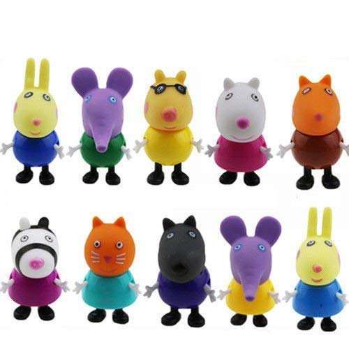 Nxhjsss 10PCS Peppa Pig Friends Action Figure Kids Toys Gift Emily Rebecca Holiday Christmas Gift