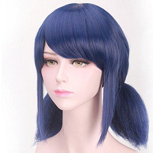 Parrucca sintetica per bambini con taglio da donna liscio a mezza lunghezza, con due codini, per cosplay anime, 35,6cm, blu scuro