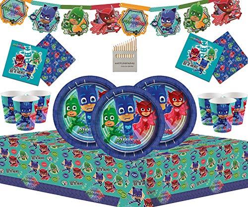 PJ Masks 50 Pezzi di Articoli per la Festa di Compleanno per Bambini Set di stoviglie compresi Banner in Cartone, Piatti, Tazze, tovaglioli e tovaglie - per 16 Persone