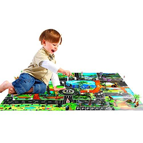 Shayson Set di 4 Pezzi di Dinosauri, 12 Diversi Giocattoli di Dinosauri Vivaci + 10 Alberi + 3 Auto + 18 segnaletica + Mappa, Jurassic World Dinosaur Toys Set
