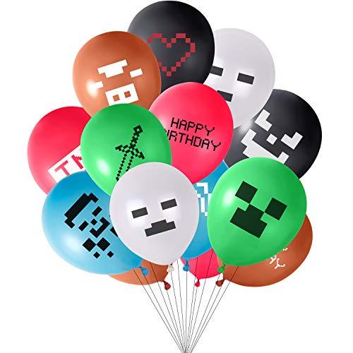 """TUPARKA 48 Pezzi Miner Party Balloons 12 """"Palloncini in Lattice per Decorazioni per Feste di Compleanno per Feste di Gioco, 12 Modelli Diversi"""