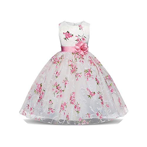 Flower Girl Dress Princess Dresses Kids Girls Wedding Teens Party Vestidos Kid Girls Floral Clothes,Pink,4T