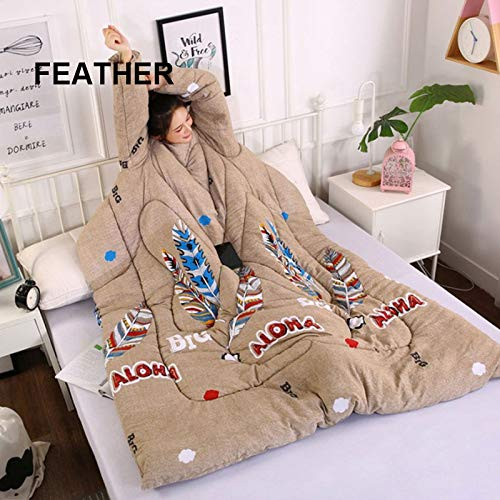 Gebuter Thick Warm Winter Lazy Wearable Sleeping Quilt Blanket with Sleeves Home Bedding for Watching TV Wearable Blanket