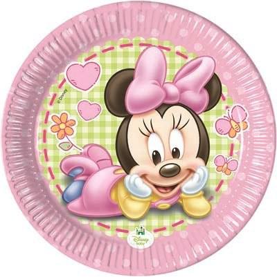 Kit Festa Baby Minnie,Piatti Baby Minnie,24 Piatti,24 Bicchieri Baby Minnie, 40 tovaglioli Baby Minnie, Festa Baby Minnie