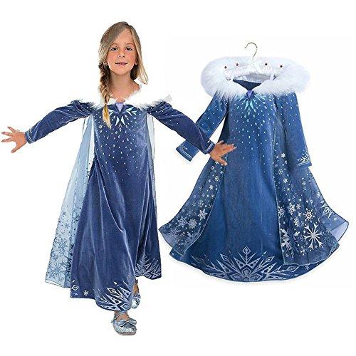 Principessa Girls Blu Snow Elsa Queen Costume Cosplay Operato dal Partito Ragazze Abito da Sposa con la Disposizione della Pelliccia del Capo