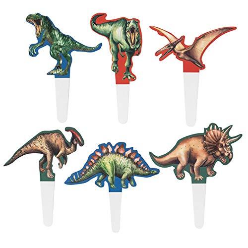 WHRP-decoration Decorazione Jurassic Park Dinosaur Theme Decorazioni per feste di compleanno Banner di buon compleanno Cake Topper Cupcake Topper Kit Hanging Swirl Decor, cupcake topper