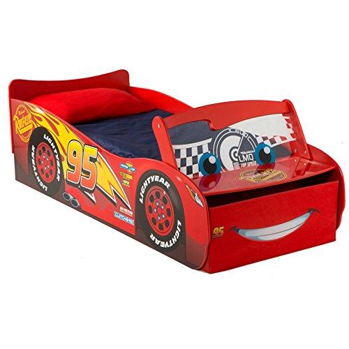 Lettino sagomato in legno Saetta McQueen Disney Cars con fari led