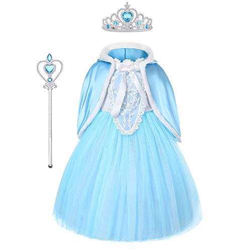 Elsa Frozen Costume DeLuxe con mantellina, tulle, bacchetta e corona