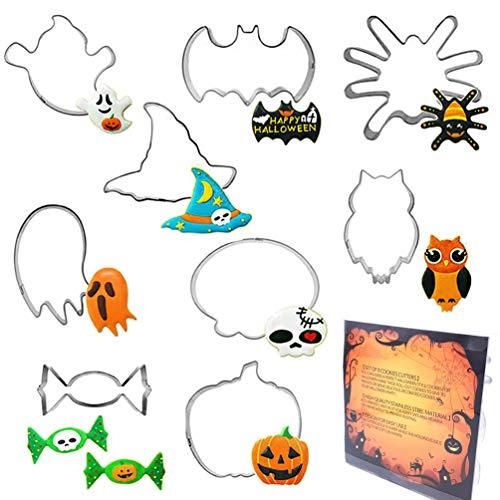 Halloween Set di 9 Formine per Biscotti in Acciaio Inox