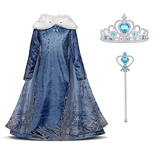 Elsa - Costume di carnevale per bambine con collo in pelliccia